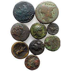 Magna Graecia, lot of 9 Greek Æ coins, to ...
