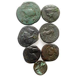 Lot of 7 Greek Æ coins, including Magna ...