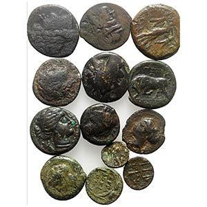 Lot of 13 Greek Æ coins, including Magna ...