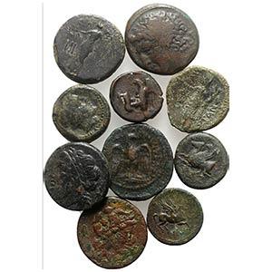 Lot of 10 Greek Æ coins, including Magna ...