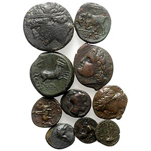 Sicily, lot of 10 Greek Æ coins, to be ...