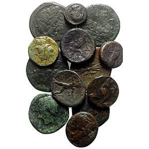 Lot of 13 Greek Æ coins, including Sicily ...