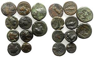Lot of 10 Greek Æ coins, including Sicily ...