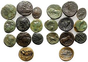 Lot of 10 Greek and Roman Provincial Æ ...