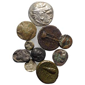 Lot of 10 Greek AR and Æ coins, to be ...