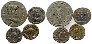 Lot of 4 Greek and Roman Provincial Æ ...