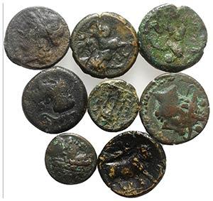 Lot of 8 Greek (Magna Graecia) and Roman ...