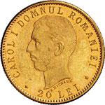 ROMANIA - CAROL I  (1866-1906)  20 Lei 1906. ...