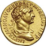 TRAIANO  (98-117)  Aureo.  D/ Busto ...
