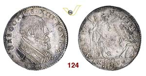 - GREGORIO XIII  (1572-1585)  Testone 1581, ...
