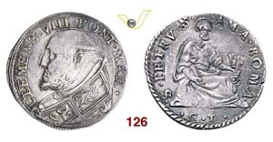 - CLEMENTE VIII  (1592-1605)  Testone s.d., ...