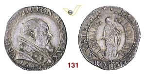 - URBANO VIII  (1623-1644)  Testone 1642 A. ...