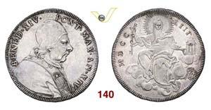 - BENEDETTO XIV  (1740-1758)  Mezzo Scudo ...