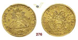 ARGENTINA - 2 Escudos 1843 RB, La Rioja.   ...
