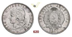 ARGENTINA - 1 Peso 1882.   Kr. 29   Ag   g ...