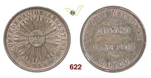 ARGENTINA - 4 Centavos 1854.   Kr. 25   Cu   ...