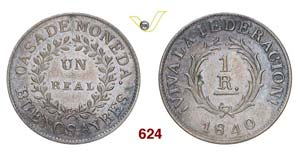 ARGENTINA  BUENOS AIRES -   1 Real 1840.   ...