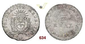 ARGENTINA  LA RIOJA -   1/2 Real 1854 B   ...