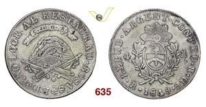 ARGENTINA  LA RIOJA -   4 Reales 1849 RB.   ...