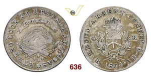 ARGENTINA  LA RIOJA -   4 Reales 1850 RB.   ...