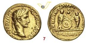 AUGUSTO  (27 a.C.-14 d.C.)  Aureo, Lugdunum. ...