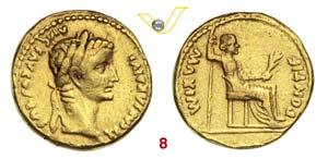 TIBERIO  (14-37)  Aureo, Lugdunum.  D/ ...