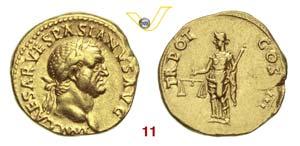 VESPASIANO  (69-79)  Aureo.  D/ Testa ...