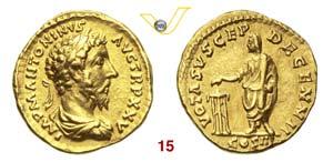 MARCO AURELIO  (161-180)  Aureo.  D/ Busto ...
