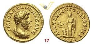 LUCIO VERO  (161-169)  Aureo.  D/ Busto ...