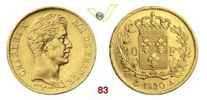 FRANCIA  CARLO X  (1824-1830)  40 Franchi ...