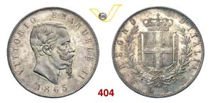 VITTORIO EMANUELE II  (1861-1878)  5 Lire ...