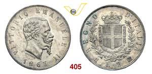 VITTORIO EMANUELE II  (1861-1878)  2 Lire ...