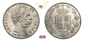 UMBERTO I  (1878-1900)  5 Lire 1879 Roma.   ...