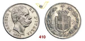 UMBERTO I  (1878-1900)  2 Lire 1882 Roma.   ...