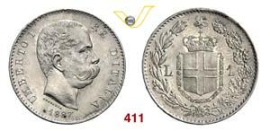 UMBERTO I  (1878-1900)  Lira 1887 Milano.   ...
