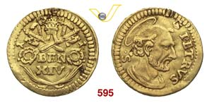 BENEDETTO XIV  (1740-1780)  1/4 di Zecchino ...