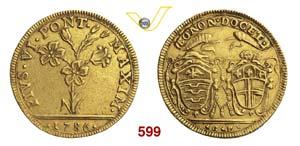 PIO VI  (1775-1799)  2 Doppie 1786, Bologna. ...