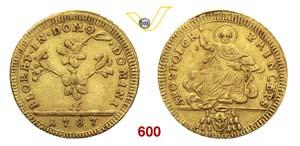 PIO VI  (1775-1799)  Doppia 1787, Roma.   ...
