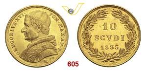 GREGORIO XVI  (1831-1846)  10 Scudi 1835 V, ...