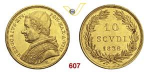 GREGORIO XVI  (1831-1846)  10 Scudi 1838 ...