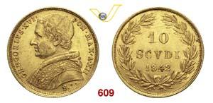 GREGORIO XVI  (1831-1846)  10 Scudi 1842 ...