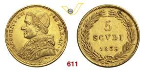 GREGORIO XVI  (1831-1846)  5 Scudi 1835 V, ...