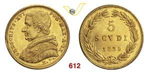 GREGORIO XVI  (1831-1846)  5 Scudi 1839 IX, ...
