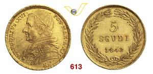 GREGORIO XVI  (1831-1846)  5 Scudi 1842 XII, ...