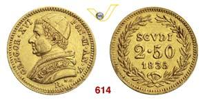 GREGORIO XVI  (1831-1846)  2,5 Scudi 1835 V, ...