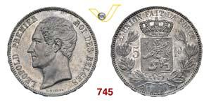 BELGIO  LEOPOLDO I  (1831-1865)  5 Franchi ...