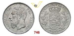 BELGIO  LEOPOLDO II  (1865-1909)  5 Franchi ...