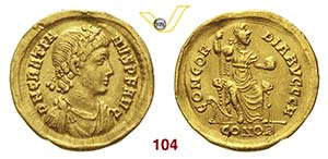 GRAZIANO  (367-383)  Solido, Costantinopoli. ...