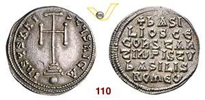 BASILIO I  (867-886)  Miliarense.  D/ Croce ...
