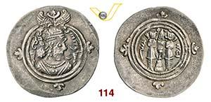 KHUSRO II  (590-627)  Dracma.  Mitchiner 19  ...